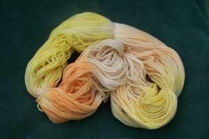 The dried dyed yarn. Not bad!