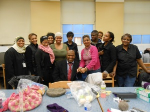 Candidate Baraka and the Bergen Crafters at the Clinton Branch Library
